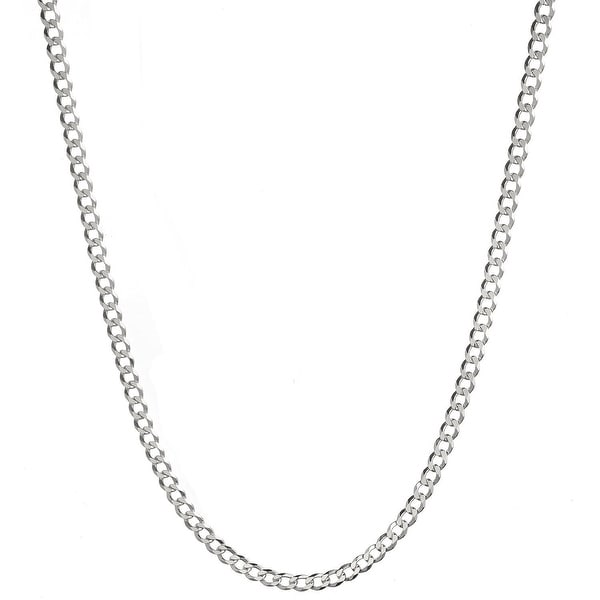Mcs Jewelry Inc Sterling Silver White 925 Curb Chain Necklace (2.8mm)