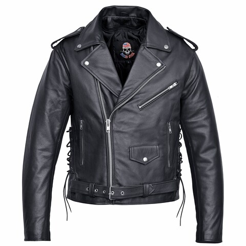 Men Motorcycle Biker Leather Jacket Classic Design Black MBJ4.2