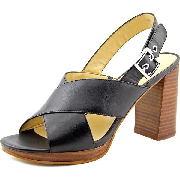 Marc Fisher Faithe Women Open Toe Leather Black Sandals