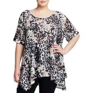 Nally & Millie Womens Plus Tunic Top Burnout Animal Print