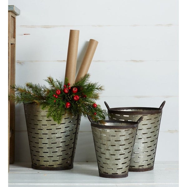 Shop Set Of 3 Distressed Gray Conical Metal Buckets 18