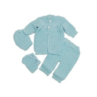 Baby Boys Blue Cardigan Sweater Crochet Hat Pants Mittens 4 Pcs Set 0-3M