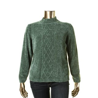 Alfred Dunner Womens Mock Neck Lattice Pullover Sweater