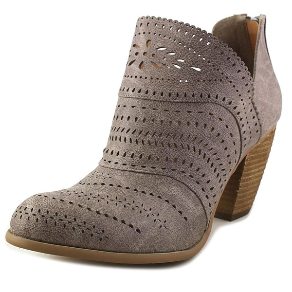Not Rated Cinati Women Round Toe Leather Gray Ankle Boot