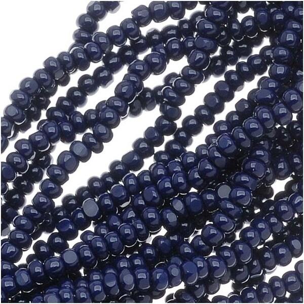 Czech Charlotte Seed Beads 13/0 Opaque Dark Blue 1/2 Hank