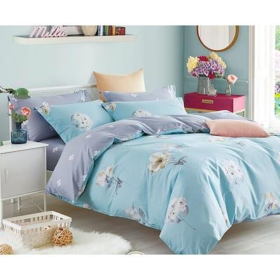 Lillian Blue/Yellow Floral 100% Cotton Reversible Comforter Set