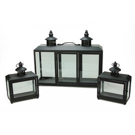 "Set of 3 Decorative Black Wide Colonial Design Glass Pillar Candle Lanterns 7.75"" - 19.75"""