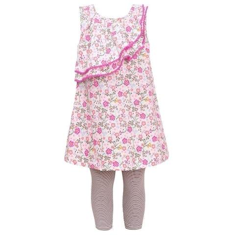 Bonnie Jean Little Girls Fuchsia Floral Print Tunic 2 Pc Legging Outfit