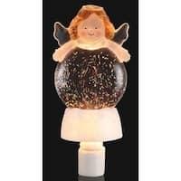 "8"" Inspirational Christmas Holiday Angel Glitterdisk Night Light - CLEAR"