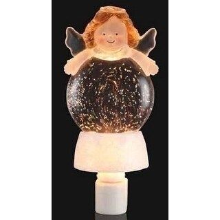 "8"" Inspirational Christmas Holiday Angel Glitterdisk Night Light - CLEAR"