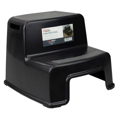 2 Step Plastic Stool with Slip-Resistant Rubber Top and Grip Handles