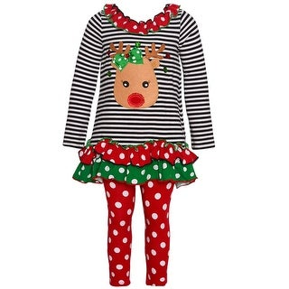 Bonnie Jean Little Girls Red Green Dot Reindeer Applique 2 Pc Legging Set
