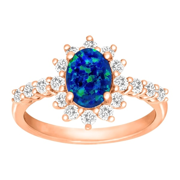 1 3/8 ct Created Blue Opal & Natural White Topaz Ring in 18K Rose Gold-Plated Sterling Silver