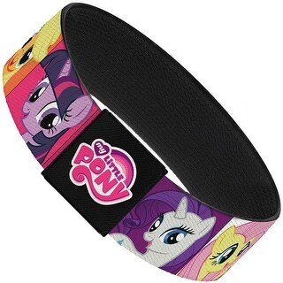 6 Pony Faces Close Up Blocks Pink Elastic Bracelet