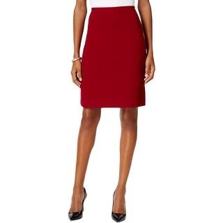 Tahari ASL Womens Petites Pencil Skirt Textured Back Slit