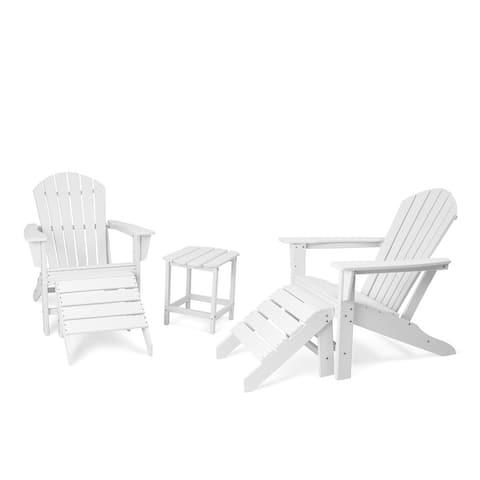 Grearden Classic 5 Pcs Set Adirondack Chairs with Ottoman