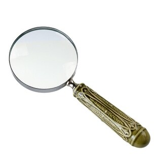 Set of 2 Traditional Magnifying Glass with Green Leaf Embossed 10