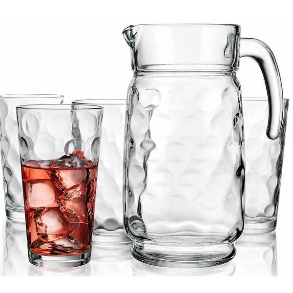 Palais Glassware Cercle Collection; Clear Glass Set with Circle Design (64 Oz Pitcher w/ 4 17 Oz Hig