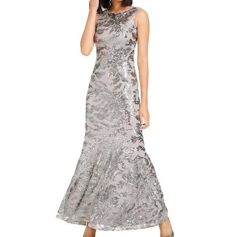 Calvin Klein Women's Dress Sequin Print Mesh Gown