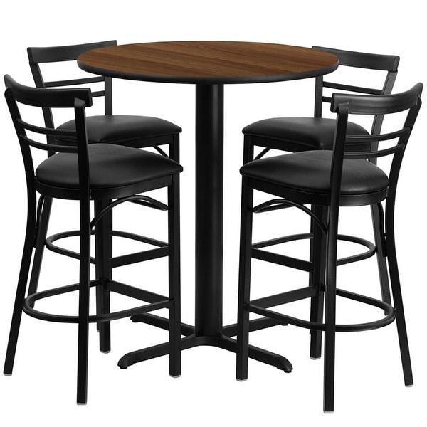 "Dyersburg 5pcs Table Set Round 24"" Walnut X-Base, Black Barstool"