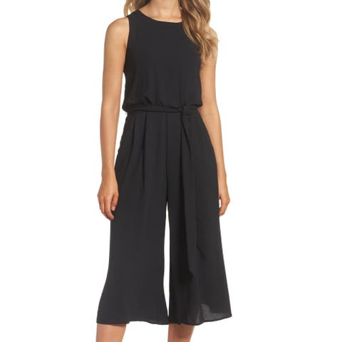 Vince Camuto Womens Black Size 2 Wide-Leg Belted Chiffon Jumpsuit