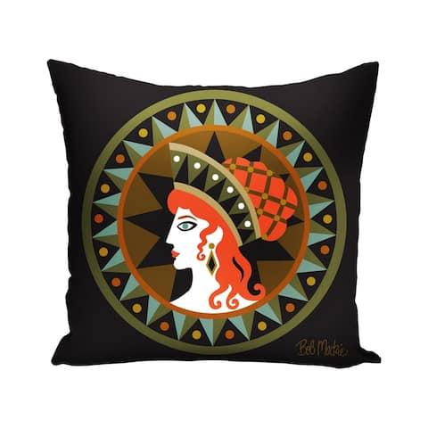Tribal Greek Woman Indoor Decorative Throw Pillow