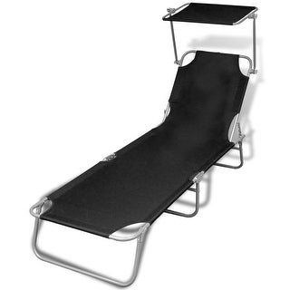 "vidaXL Folding Sun Lounger with Canopy Steel and Fabric Black - 74.4"" x 22.8"" x 10.6"""