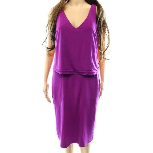 Lauren By Ralph Lauren NEW Purple Women Medium M Popover Sheath Dress