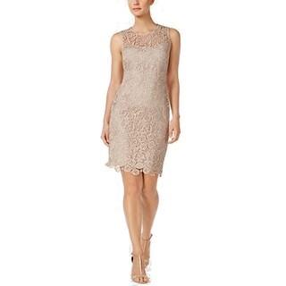 Calvin Klein Lace Sheath Dress, Tan, 8