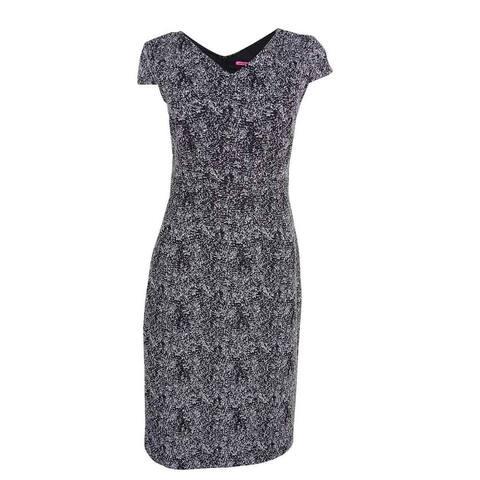 Betsey Johnson Women's Metallic Textured Sheath Dress - Black/Silver