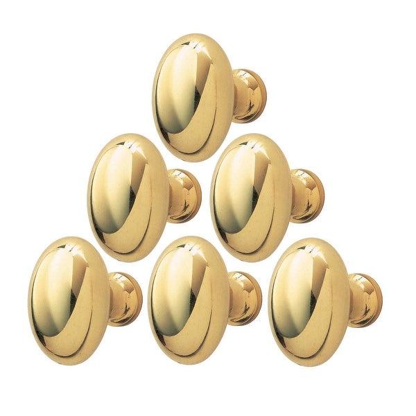 Shop Solid Brass Oval Polished Cabinet Knob Set Of 6 1-1/4