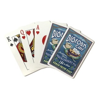Bigfork, Montana - Huckleberry Pie Sign - Lantern Press Artwork (Playing Card Deck - 52 Card Poker Size with Jokers)