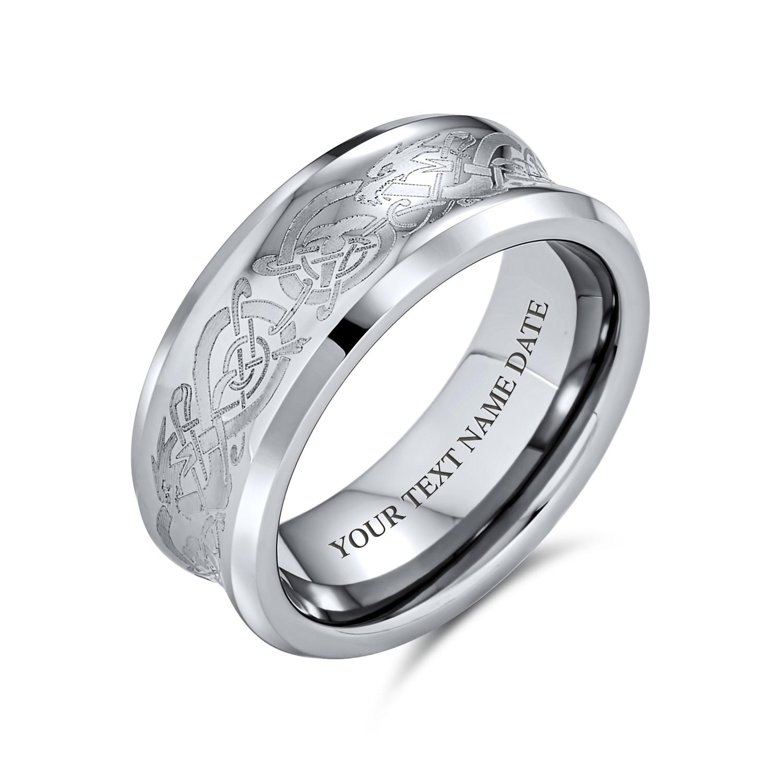 Men/'s Gold Blue Black Celtic Dragon Titanium Silver Steel Wedding Band Rings