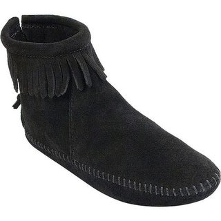 Minnetonka Women's Back Zipper Boot Softsole Black Suede