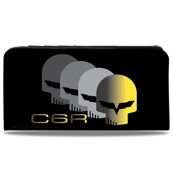 C6 Racing W Skull Repeat Black Yellow Silver Canvas Snap Wallet - One Size Fits most