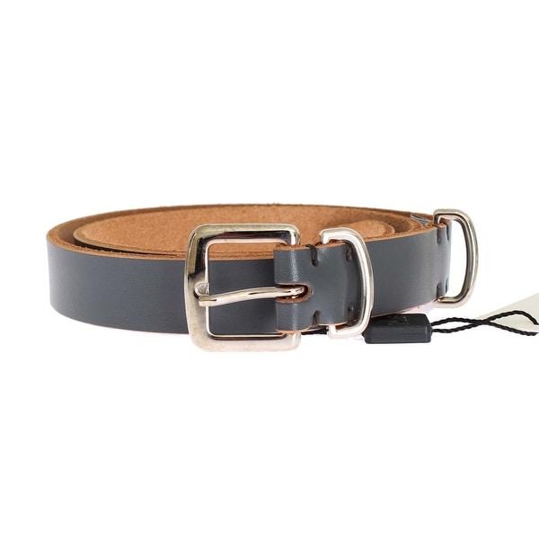 Dolce & Gabbana Blue Leather Silver Buckle Belt