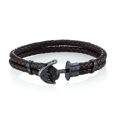 SPARTAN Men's Man-Made Leather and Stainless Steel Anchor Bracelet
