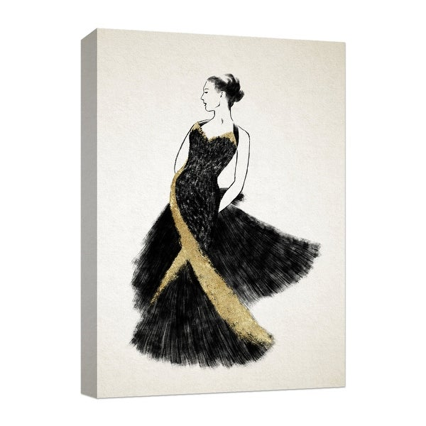 """PTM Images 9-124849 PTM Canvas Collection 10"""" x 8"""" - """"Black in Golden Dress"""" Giclee Women Art Print on Canvas"""
