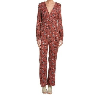 Free People NEW Red Women's Size 6 Printed V-Neck Gathered Jumpsuit
