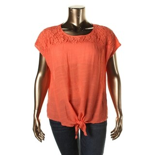 Cable & Gauge Womens Lace Overlay Tie Front Blouse
