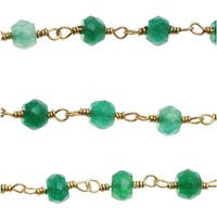 Green Onyx Gemstone Gold Vermeil Wire Wrapped Chain 3.5mm Rondelles