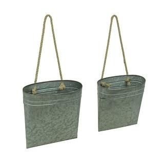 Galvanized Metal Hanging Basket Set of 2 Indoor/Outdoor Planters - 14 X 12.25 X 6.25 inches