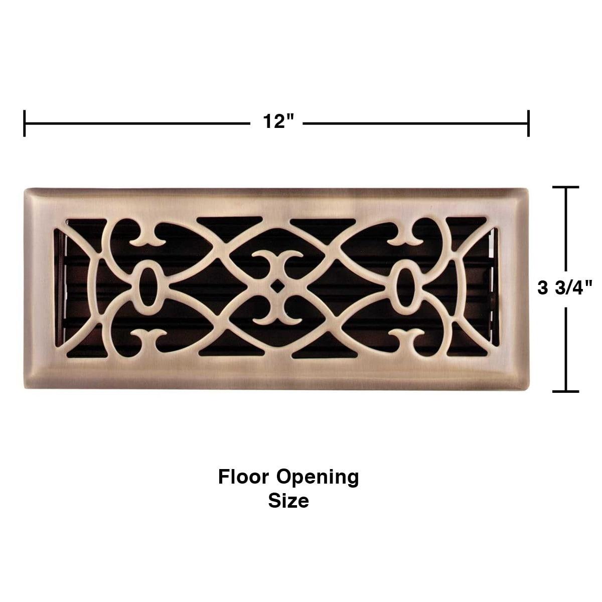 Solid Brass Victorian Scroll 2.25 by 12 Heat Register Metal Floor Vent
