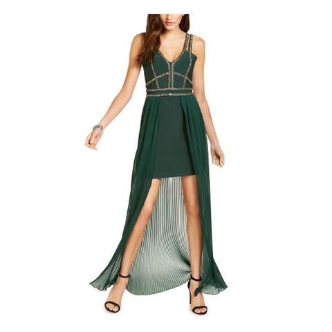 MARCIANO Womens Green Sleeveless Short Hi-Lo Formal Dress Size L