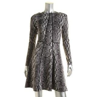 MICHAEL Michael Kors Womens Snake Print Contrast Trim Wear to Work Dress