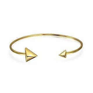 Bling Jewelry Gold Plated 925 Silver Stacking Open Arrow Cuff Bracelet
