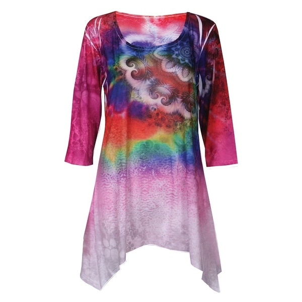Women's Tunic Top - Tie-Dye Paisley Sublimated Print 3/4 Sleeve Blouse
