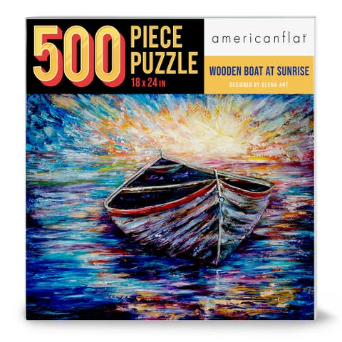 """Americanflat 500 Piece Jigsaw Puzzle 18""""x24"""" - Wooden Boat at Sunrise by Olena Art - 18x24"""