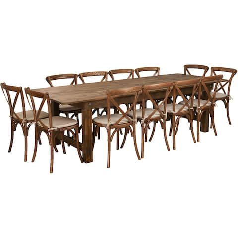 """9' x 40"""" Rustic Folding Farm Table Set with 12 Cross Back Chairs and Cushions"""