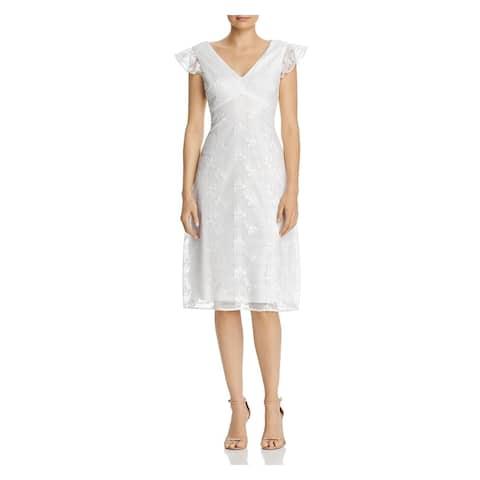 ADRIANNA PAPELL White Cap Sleeve Knee Length Dress 0